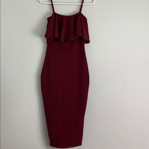 Burgundy form fitting Boohoo dress